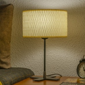Bulb Attack Once 1/T white table lamp with lampshade made of laminated fabric