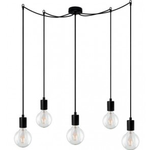 Bulb Attack Cero Basic S5 pendant lamp with black lamp holder, black textile cable and black ceiling rose