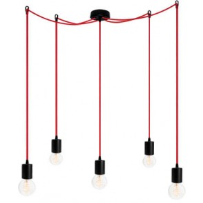 Bulb Attack CERO S5 pendant lamp with black metal bulb holder, red power cable and black ceiling canopy