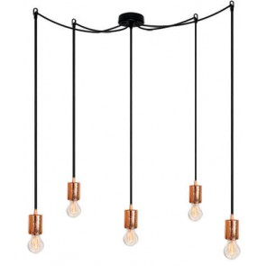 Bulb Attack CERO S5 pendant lamp with copper metal bulb holder, black power cable and black ceiling canopy