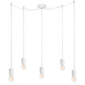 Bulb Attack CERO S5 pendant lamp with white metal bulb holder, white power cable and white ceiling canopy