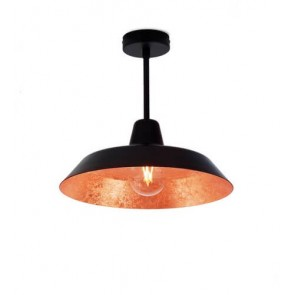 Bulb Attack Cinco Basic C1 ceiling lamp with black/copper metal shade and black hardware