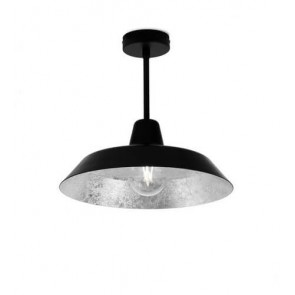 Bulb Attack Cinco Basic C1 ceiling lamp with black /silver metal shade and black hardware
