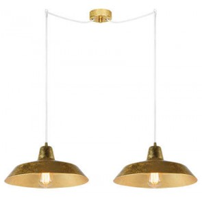 Bulb Attack Cinco S2 pendant lamp with gold shade and white power cable