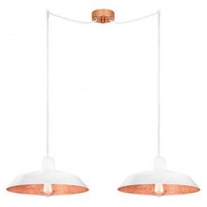Bulb Attack Cinco S2 pendant lamp with white/copper shade and white power cable