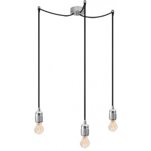 Bulb Attack Uno S3 pendant lamp with silver lamp holder, black textile cable and silver ceiling rose