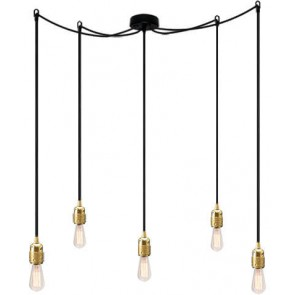 Bulb Attack Uno S5 pendant lamp with gold lamp holder, black textile cable and black ceiling rose