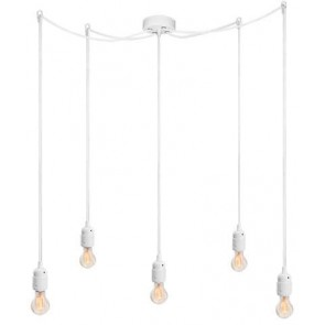 Bulb Attack Uno S5 pendant lamp with white lamp holder, white textile cable and white ceiling rose