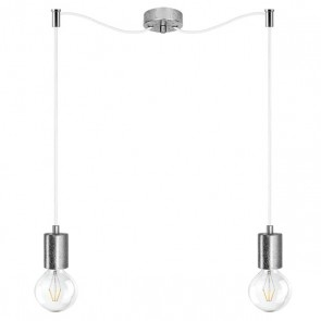 Bulb Attack Cero Basic S2 double hanging lamp with silver lamp holder and white textile power cable