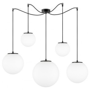 Sotto Luce TSUKI Mix 5/S Globe pendant lamp with opal matte shade, black power cord and black ceiling canopy