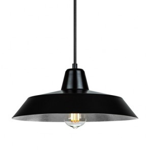 Bulb Attack Cinco S1 industry pendant lamp with black/silver shade and black power cable