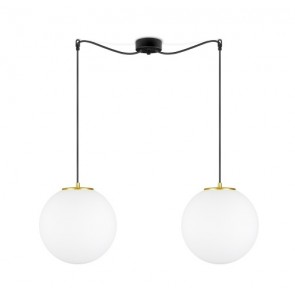 Sotto Luce TSUKI 2/S globe pendant lamp with opal matte/copper glass shade and black textile cable