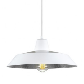 Bulb Attack Cinco S1 rustic pendant lamp with white/silver shade and white power cable