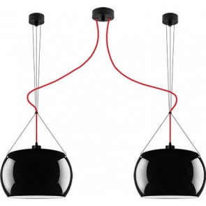 Sotto Luce MOMO Elementary 2/S ceiling lamp with black/opal shade