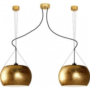 Sotto Luce MOMO Elementary 2/S ceiling lamp with gold/opal shade