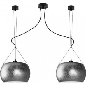 Sotto Luce MOMO Elementary 2/S pendant lamp with silver/opal shade
