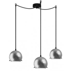 Sotto Luce MYOO Elementary 3/S pendant light with silver leaves/opal lamp shade
