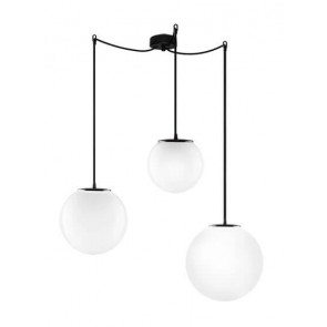 Sotto Luce TSUKI MIX 3/S pendant lamp with opal/black lamp shades, black power cables and black hardware