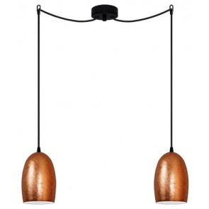 Sotto Luce UME Elementary 2/S decorative pendant lamp with copper shade and black power cable