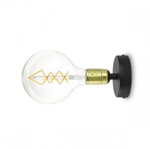 Bulb Attack Uno Basic W1 wall lamp with gold glossy E27 lamp holder and black wall canopy
