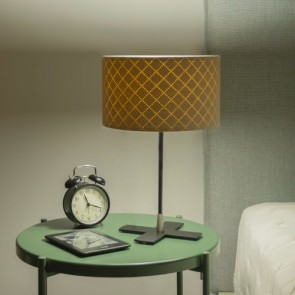 Lampa nocna Bulb Attack TRECE 1/T z abażurem ze skóry ekologicznej