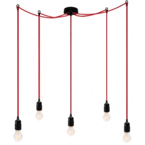 Bulb Attack Uno S5 pendant lamp with black lamp holder, black textile cable and black ceiling rose
