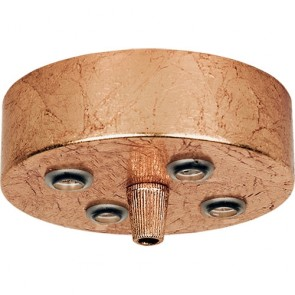 Copper ceiling canopy, ceiling rose for pendant lamps with 5 holes