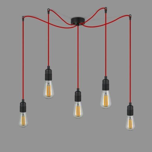 Designerska lampa Bulb Attack UNO S5 czarno-czerwona