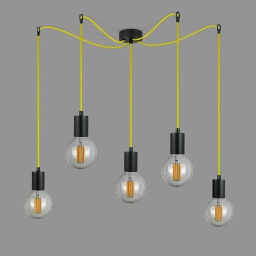 Lampa wisząca Bulb Attack Cero S5 z czarnymi oprawkami E27 i żółtym kablem elektrycznym