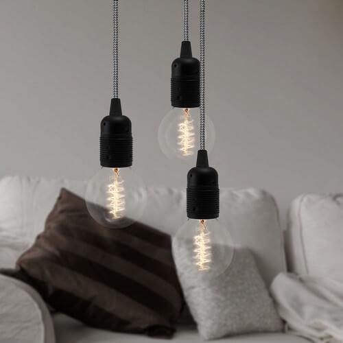 Lampa wisząca Bulb Attack Uno 3 z oprawkami E27 czarnymi i czarno-białym kablem