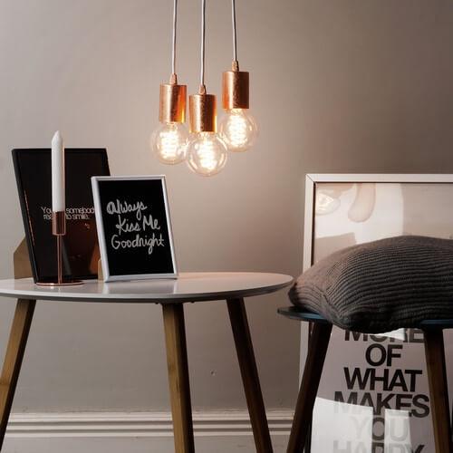 Minimalistyczna lampa Bulb Attack Cero 3 w płatkach miedzi