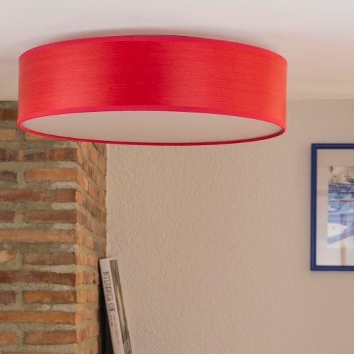 Plafon z naturalnej drewnianej okleiny Bulb Attack Ocho czerwony