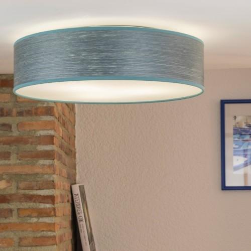 Niebieski plafon Bulb Attack Ocho z naturalnej okleiny drewnianej
