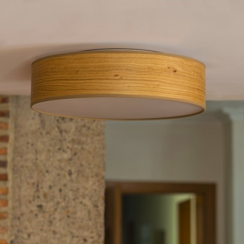 Rustykalny plafon Bulb Attack Ocho - z naturalnego drewna dębowego
