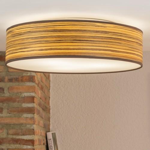 Naturalny drewniany plafon Bulb Attack Ocho 400mm - Zebrano