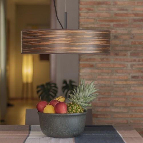 Nowoczesna lampa wisząca z drewna Bulb Attack Ocho Slim - Brązowa