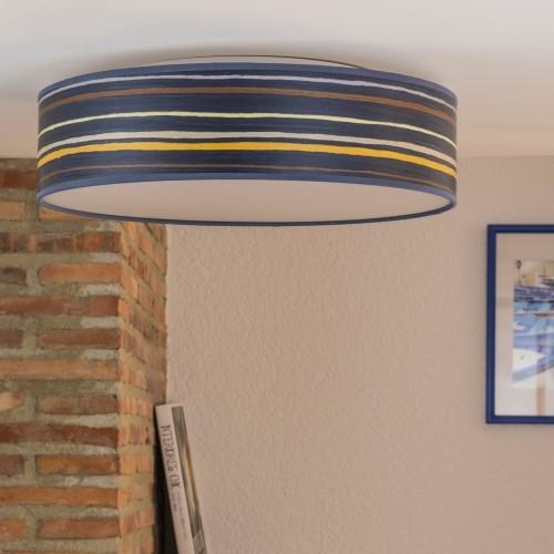 Drewniany plafon Bulb Attack Ocho L/C - niebieski w paski