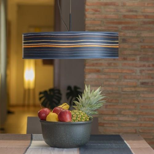 Bulb Attack Ocho Slim 1/S lampa wisząca z naturalnego drewna - Niebieska w paski