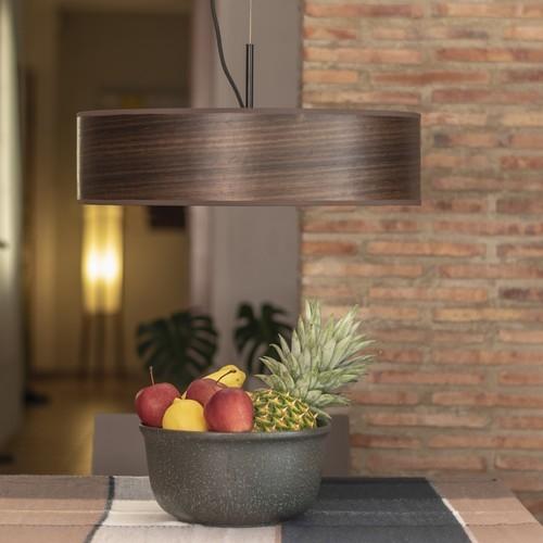 Lampa wisząca z naturalnego drewnianego forniru Bulb Attack Ocho Slim - Eukaliptus