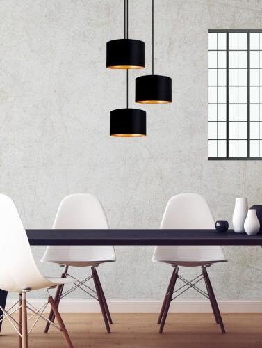 Designerska lampa wisząca Bulb Attack Tres z tekstylnym abażurem w kolorze czarnym z płatkami złota