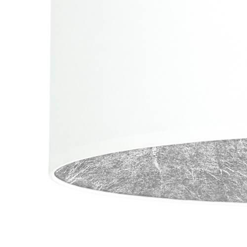 Tekstylny abażur lampy Bulb Attack Tres - biały z płatkami srebra