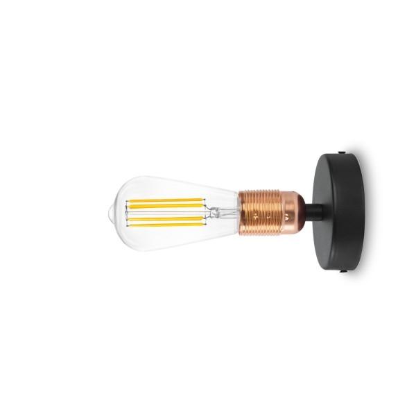 Wandlampe Bulb Attack Uno Basic W1 metallisches Kupfer & schwarz