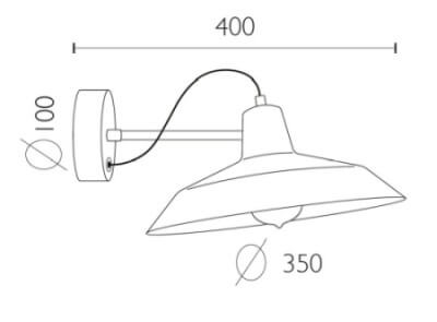 Dimensions of Bulb Attack Cinco Basic W1 wall lamp
