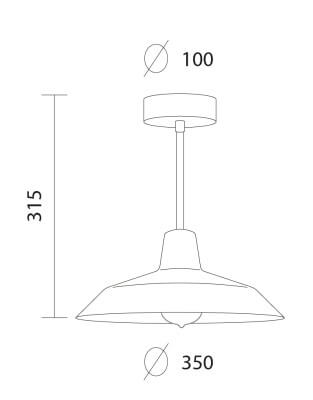 Dimensions of Bulb Attack Cinco Basic C1 ceiling lamp