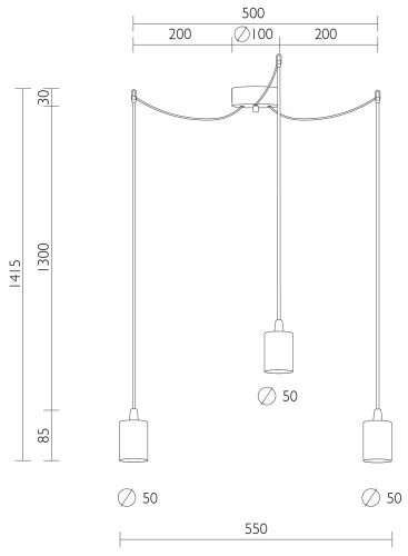 Dreifach-Pendellampe Bulb Attack Cero 3 Abmessungen