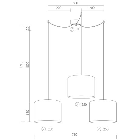 Dimensions of Bulb Attack Tres 3 S pendant lamp