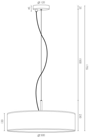 Holz-Hängeleuchte Bulb Attack Ocho 1 S Dimensionen
