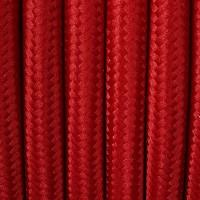 Czerwony kabel w dekoracyjnym oplocie tekstylnym