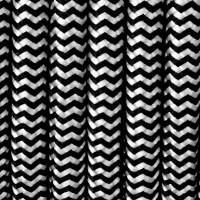 Przewód w dekoracyjnym oplocie poliestrowym w kolorze czarno-białym