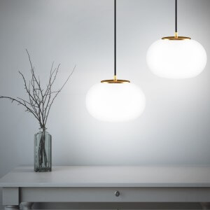 Sotto Luce Dosei 2/S pendant lamo with opal/gold shade and blakc power cable